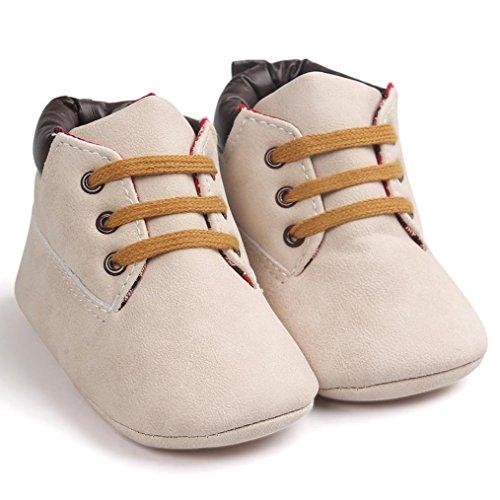 OverDose Unisex-Baby weiche warme Sohle Leder / Baumwolle Schuhe Infant Jungen-Mädchen-Kleinkind Schuhe 0-6 Monate 6-12 Monate 12-18 Monate A-Beige-Leder