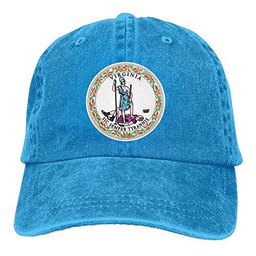 ghkfgkfgk Virginia State Flag Washed Retro Adjustable Denim Hat Golf Hat for Women and Men -