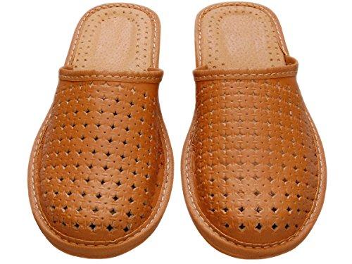 Hausschuhe Leder Damen Pantolette Gummisohle Latschen Leder Modell XB01 Brown