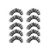 Hffan Wesimplelife Falsche Wimpern, 3D Wimpern Set, Wiederverwendbare Kunstfaser Künstliche Wimpern mit Dual Magneten Kein Kleber Wimpernverlängerung für Make-up(5Paar)