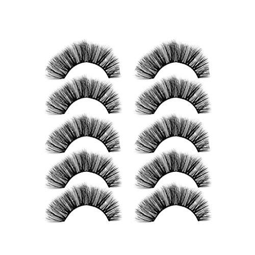 ��Rifuli® Luxus Make-up 5Pair 3D falsche Wimpern flauschigen Streifen Wimpern lange natürliche Party Natürliche Falsche Wiederverwendbar Wimpern KlebstoffWiederverwendbare ()