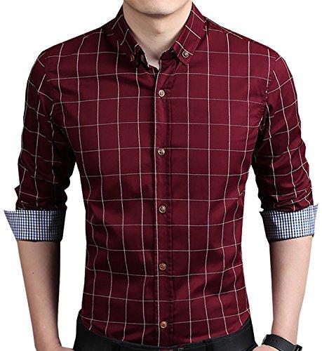 AIYINO Herren Casual Hemd Slim Fit Langarm Shirts Freizeit Baumwolle 5 Farben Größen XS-XL (Large, Weinrot)
