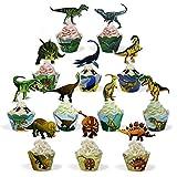 BeeGreen Dinosaurier-Kindergeburtstag-Cupcake-Toppers-Wrappers 24 Stück Tortendeko, Kinder Party Deko für Dinosaurier Party Kuchen, Cake Decoration Kuchendeko