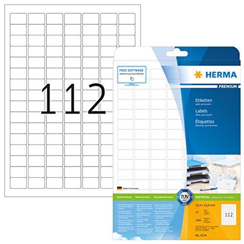 Herma 4334 Universal Etiketten (25,4 x 16,9 mm) weiß, 2.800 Aufkleber, 25 Blatt A4 Premium Papier matt, bedruckbar, selbstklebend