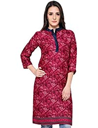 Eternal Women's Dark Pink Printed Pashmina Knee-Length Kurti With Pocket( TSFPS002)
