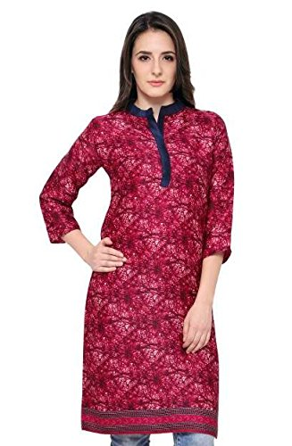 Eternal Women's Dark Pink Printed Pashmina Knee-Length Kurti With Pocket( TSFPS002-PINK_XXL, Dark Pink, XX_Large)  available at amazon for Rs.379