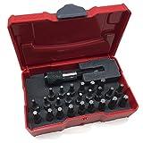 TANOS Micro systainer® rot mit 24-teiligem Bit-Set und Bithalter 24 x TORX