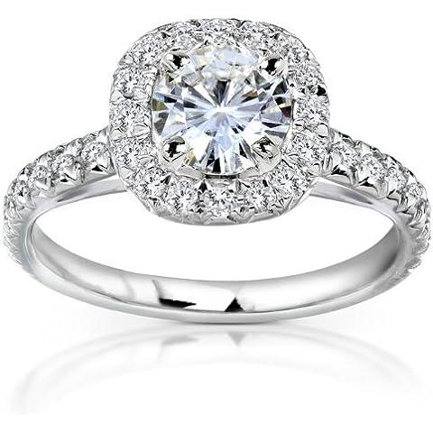 Moissanite & Halo, anello di fidanzamento con diamante 1/5 CT 2 (ctw) in oro bianco 14 k