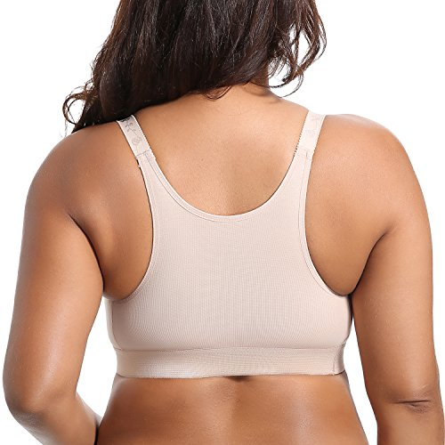 Gratlin Damen Baumwolle Still BH - ohne Bügel Große Größen Schwangerschafts BH Beige