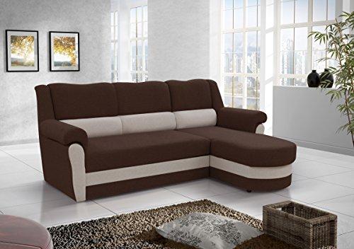 mb-moebel Kleines Ecksofa Sofa Eckcouch Couch mit Schlaffunktion und Bettkasten Ottomane L-Form Schlafsofa Bettsofa Polstergarnitur Cannes