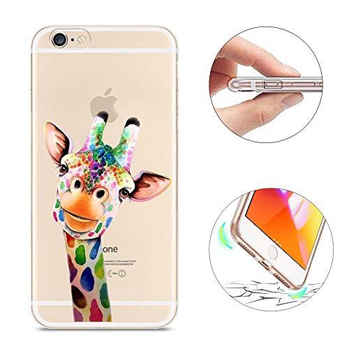 Für iPhone 6 Plus iPhone 6S Plus Hülle, für iPhone 6 Plus / 6S Plus Hülle Slim, KeKeYM Transparente Silikon Ultra Thin Weich Leichte Hülle Tiermuster für iPhone 6 Plus 6S Plus 5.5 Zoll - Bunte Giraffe
