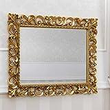 Simone Guarracino Specchiera Zaafira Stile Barocco Cornice Traforata Foglia Oro Specchio molato cm 107 x 87