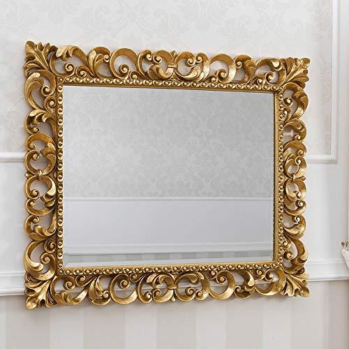 simone guarracino specchiera zaafira stile barocco cornice traforata foglia oro specchio molato cm 94 x 74