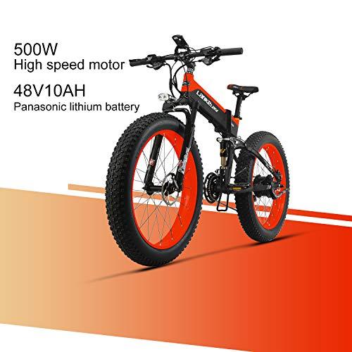 LANKELEISI XT 750 Plus 48V 10AH 500W Motore Nuovo Bici elettrica 26 \'\' 4.0 all\'Ingrosso Tiro Ebike 27 velocità Neve MTB Pieghevole Bici elettrica (Rosso)