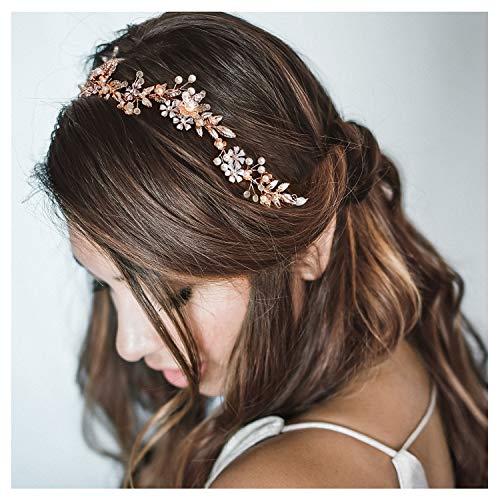 SWEETV Roségold Hochzeits Haarband Brautschmuck Kopfbedeckung mit Perlen Diadem Hochzeit