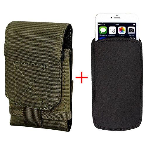 xhorizon® Beutel Hülle Combo [Taktische Molle] [Elastische Neopren] Für iPhone 6 Plus 5.5 Zoll Haken SchleifeGürtelholster Case Hülle Army Grün