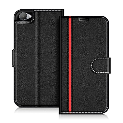 COODIO HTC Desire 12 Hülle Leder Lederhülle Ledertasche Wallet Handyhülle Tasche Schutzhülle mit Magnetverschluss/Kartenfächer für HTC Desire 12, Schwarz/Rot