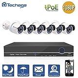 techage 8CH 48V 1080p PoE NVR CCTV Système de Principal de intérieur en plein air étanche de sécurité de surveillance Installation avec ensemble de 6pcs Caméra IP, sans disque dur
