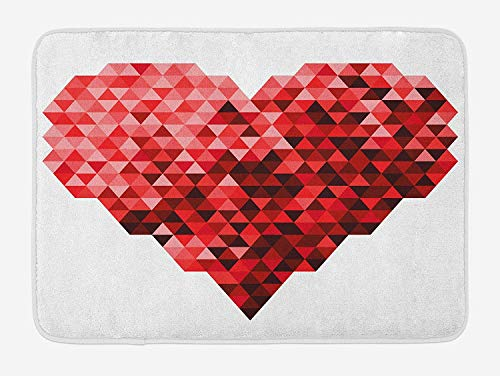 NasNew Burgundy Bath Mat, Futuristic Modern Heart in Geometrical Ombre Style in Squared Pixels Artwork, Plush Bathroom Decor Mat with Non Slip Backing, 31.69 X 19.88 Inches, Red and Ruby