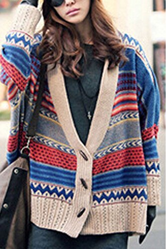 Minetom Femmes Pulls Col V Manches Chauve-Souris Rayé Cardigans Court Outerwear Kimono One Color