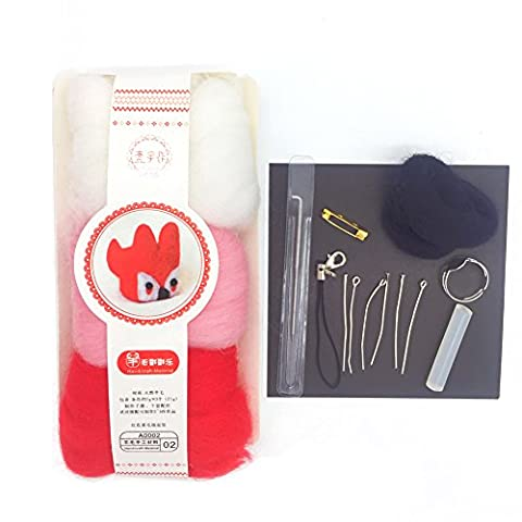 YSZ Felting Starter Kits Wolle Filz Kit für Anfänger DIY Materialien Original Paket 3 Farben x 7g Genug Glatt und 1 Nadel