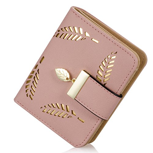 Damen kurzer Punkt Art und Weise weibliche Portemonnaie Hohle Goldblatt Kleine Geldbeutel Große Kapazität Wallet (Rosa) (Damen Kleine Portemonnaie Rosa)