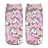 HENGSONG Cute Unicorn Pattern Socks Funny Emoji Sports Socks for Girls Boys Teenagers (Style 9)
