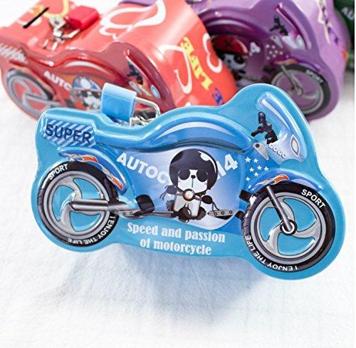 YOIL von schönen Möbel Dekoration Geld Bank Aufregende Motorrad-Sparschwein-erstaunliche Weißblech-Süßigkeits-Glas mit Verschluss (blau)