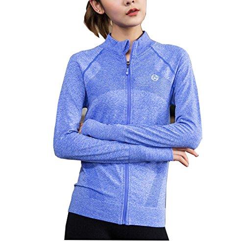 Suzone maglia a maniche lunghe da donna con zip giacca da running giacca da running yoga con cerniera, tasche invernale grigio Blue