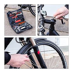 Relaxdays Bicicleta HBT 25,5x 33x 7cm 37piezas herramientas en práctica Mesas maletín universal bicicleta Herramientas para Reparación de Bicicleta en casa maletín de herramientas, Negro, M