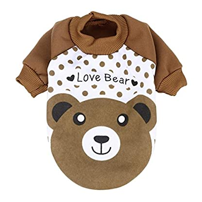 sunnymi Cute Little Pet Dog Clothing Lovely Small Puppy Pet Dog Cat Clothes Hoodie Autumn Winter Warm Sweater Coat… 1