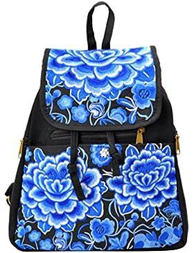YAANCUN Mädchen Bestickt Schulrucksack Canvas Rucksack Ethnischen Stickerei Kinderrucksack Daypacks Tasche Beiläufige