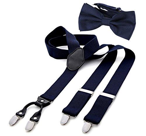 DonDon Herren 3,5 cm breiter Hosenträger in Y-Form elastisch und verstellbar im 2er Set mit farblich passender Fliege 12 x 6 cm - Alternative Kostüm Männer