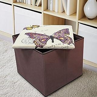Ashley Mills Tapestry Butterfly Ottoman Foldaway Storage Blanket Toy Box Padded Lid