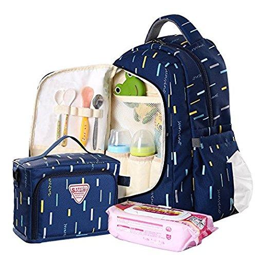 Sunveno Multifunktionale Wickeltaschen Mama Rucksack Grosse Kapazität Windel Umhängetasche Mit Milchbeutel (blau) (Bookbag Wickeltasche Für Mädchen)