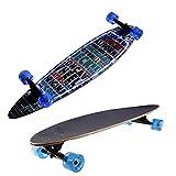 Ancheer Longboard Skateboard Board Cruiser-Komplettboard mit ABEC-9 High Speed Kugellager ,103x25x10cm (LED Board und LED-Rollen(Buchstabe ))