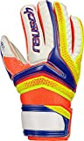 Reusch bambini sera Thor RG Finger Support Junior guanti da portiere, Bambini, Serathor RG Finger Support Junior, dazzling blue/Safety yello, 4