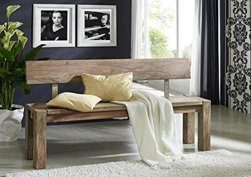 Palisander Holz massiv Bank 200x35 Sheesham Massivmöbel Nature Grey #703