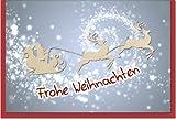metalum Premium-Weihnachtskarte mit festlichem Motiv in edlen Farben und besonders filigranem Rentier-Schlitten aus echtem Holz - eine himmlisch schöne Weihnachtskarte!