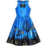 Mädchen Kleid Königlich Blau Halloween Witch Schläger Kürbis Kostüm Halfter kleiden Gr. 134
