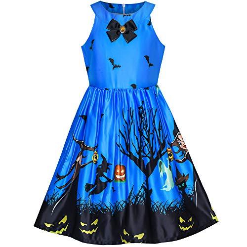Mädchen Kleid Königlich Blau Halloween Witch Schläger Kürbis Kostüm Halfter kleiden Gr. 116 (Versteckte Kostüm)