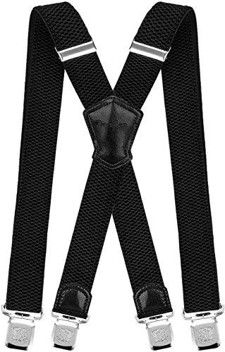 Decalen Hosenträger für Herren Breit 4 cm mit sehr Starken 4 Metall Clip Lang Einheitsgröße für Männer und Damen Einstellbar und Elastisch X Style (Schwarz)