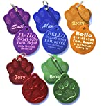 Dogidogs Hundemarke mit Gravur 2 Stück - Motiv Pfote Schlüsselring - beidseitige Gravur (rot)