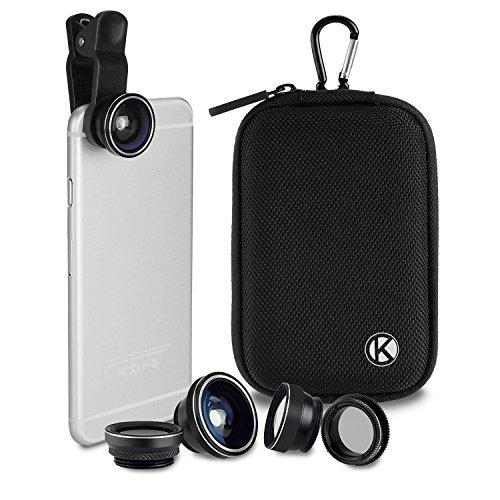 CamKix Deluxe Universal 5 in 1 Kamera Objektiv Kit - Fischaugen, 2in1 Makro und Weitwinkel-Objektiv, CPL, 2X Zoom Teleobjektiv, Universal Clip, Tragetasche mit Karabiner, Reinigungstuch -
