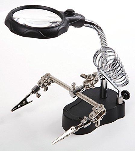 Ama-ZODE 3.5x & 12X dritte helfende Hand Clip-LED Vergrößerungsablageständer Len Lupe -