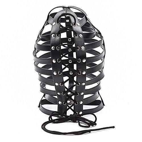 Htcf BDSM Fetisch Sex Toys Kopf Bondage Schwarz PU-Leder-Maske