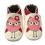 LSERVER Chaussures Bébé en cuir Souple Premiers Pas Chaussons semelle douce, Poussins roses, X (18-24 Mois, longue interne: 14.5cm)