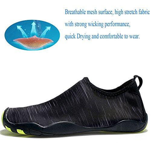 Laiwodun Unisexe Chaussures de Bain Surf Natation Plong¨¦e Chaussures de Sport Aquatique pour Femme et Homme. Noir
