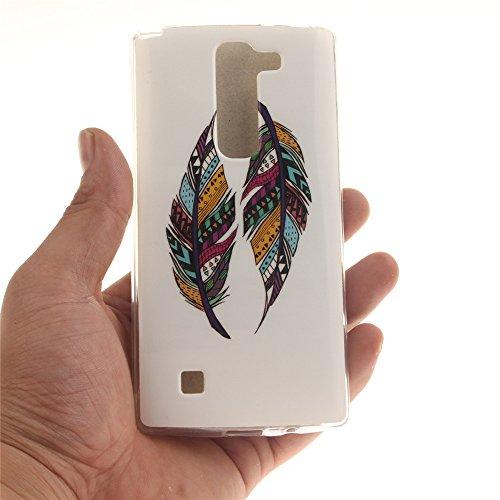 LG Spirit 4G LTE H440N , 3G H420 hülle MCHSHOP Ultra Slim Skin Gel TPU hülle weiche weiche Silicone Silikon Schutzhülle Case für LG Spirit 4G LTE H440N , 3G H420 - 1 Kostenlose Stylus (Löwenzahn sich  Tribal Aztec Feder (Tribal Aztec Feather)