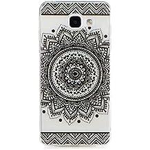 KSHOP Etui cas TPU silicone pour Samsung Galaxy A3(2016)A310 Coque Case Cover Housse de protection Shell avec mince motif imprimé - Saint Indian Flower Mandala Noir